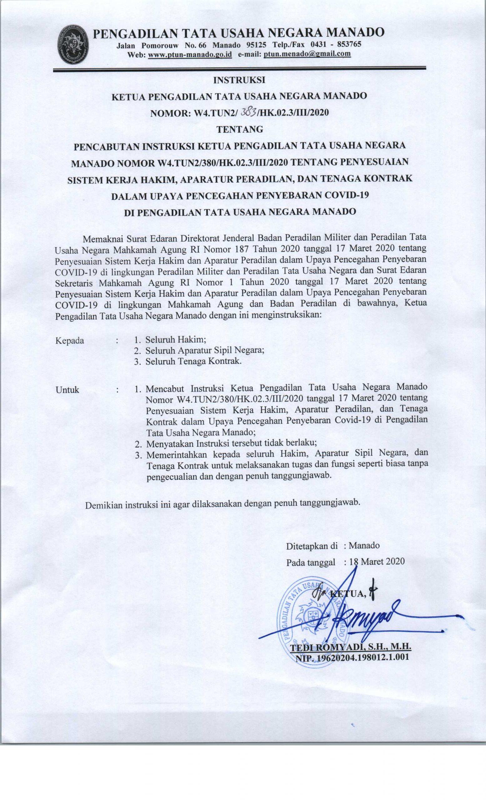 Pencabutan Instruksi Ketua Pengadilan Tata Usaha Negara Manado