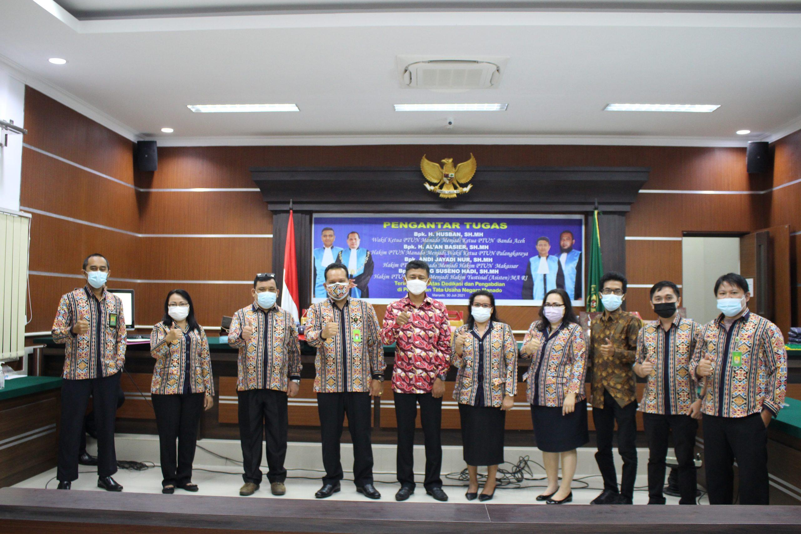 Pelepasan Wakil Ketua dan Hakim Pengadilan Tata Usaha Negara Manado yang Mutasi dan Promosi