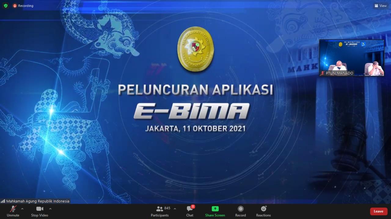 Acara Launching Aplikasi E-BIMA (Electronic Budgeting Implementation Monitoring and Accountability) Secara Daring